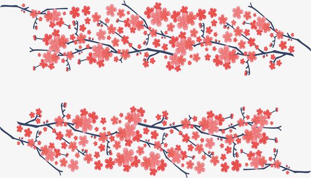 浪漫红色樱花花纹