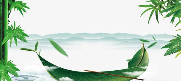 绿色创意端午节海报设计免抠