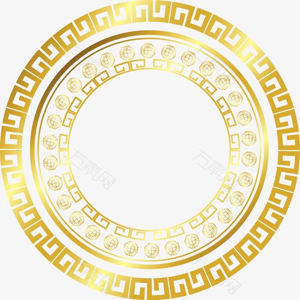 金色圆形海报装饰花纹边框
