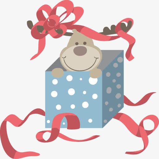 卡通矢量圣诞礼物小鹿彩带