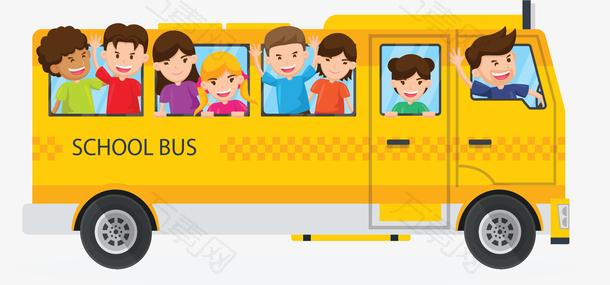 卡通黄色可爱校车