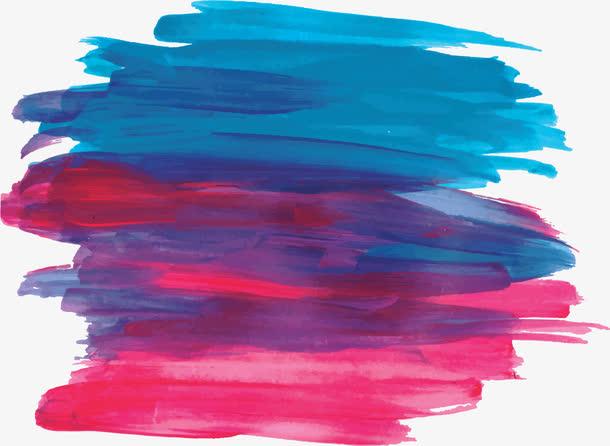 红蓝色水彩涂鸦笔刷