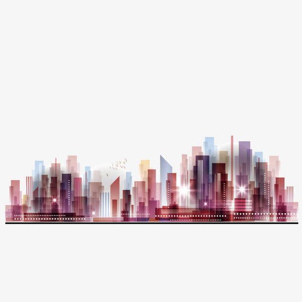 矢量都市炫彩建筑群城市夜空