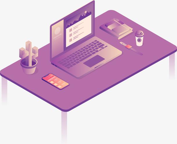 商务2.5D信息技术办公矢量插画