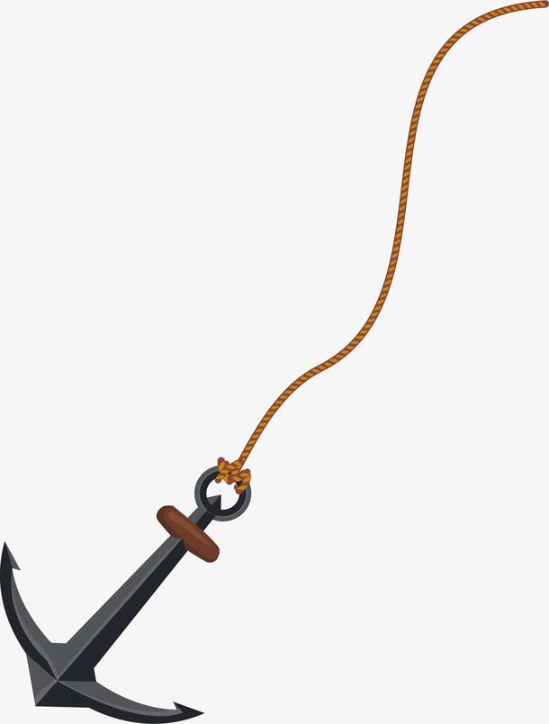 沉入大海的绳子船锚
