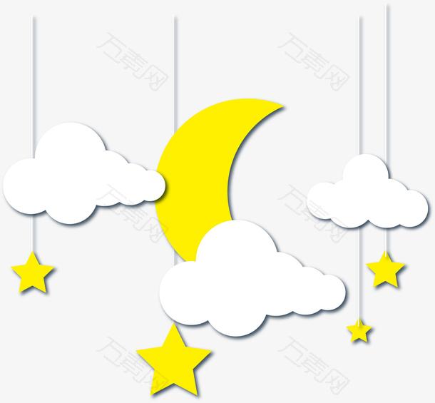 创意星星月亮立体剪纸插画