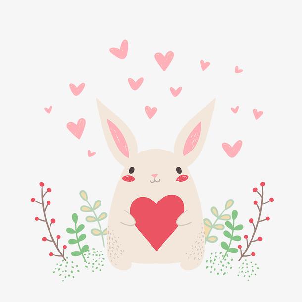 一个抱着爱心的卡通兔子