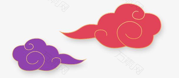 中国风红色紫色手绘祥云