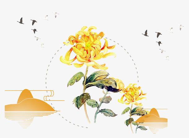 彩绘装饰重阳菊花元素