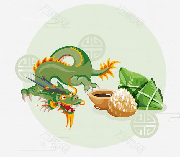 端午节龙舟与粽子主题装饰插画