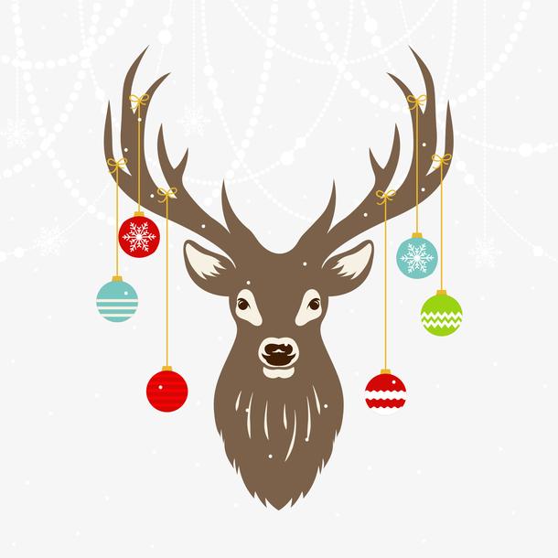 矢量圣诞节麋鹿插画