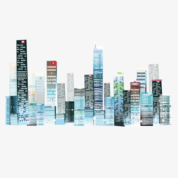 矢量高楼彩绘建筑群城市夜空