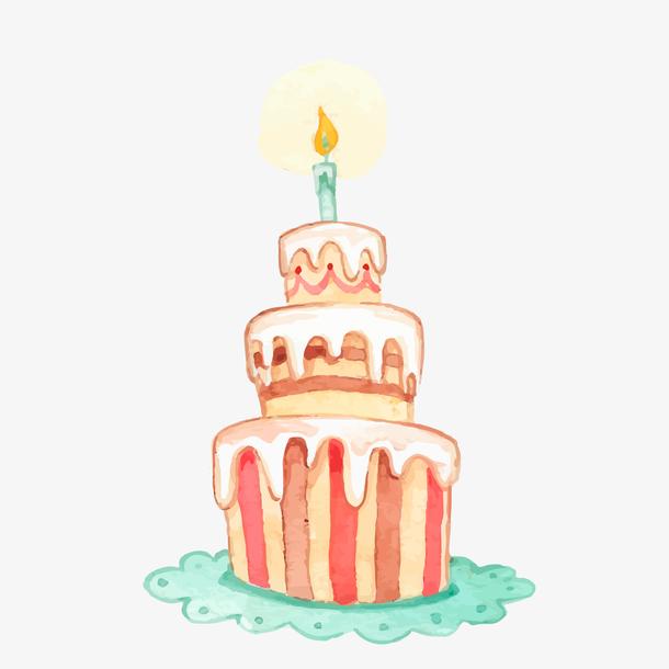 水彩手绘生日蛋糕设计