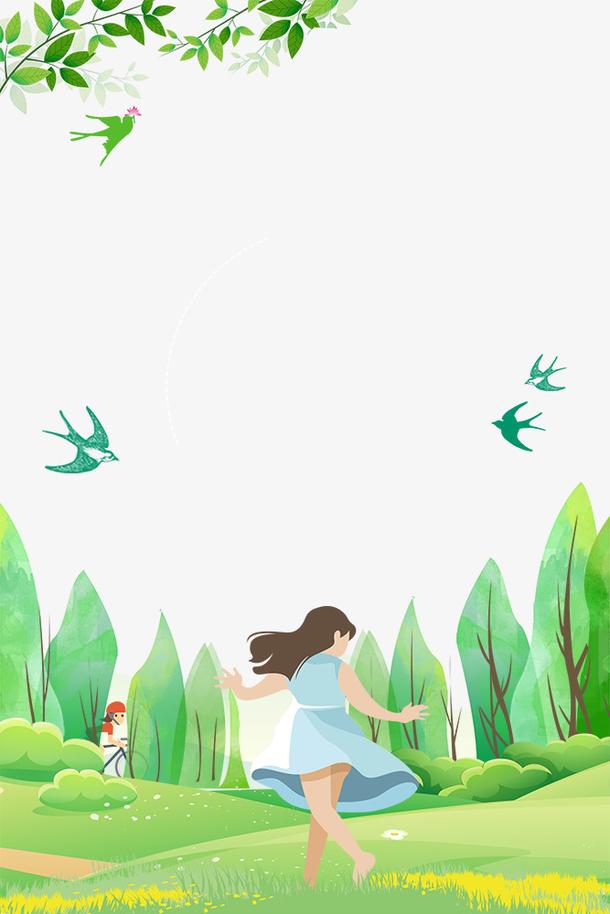 春季林间奔跑的花姑娘主题主题边
