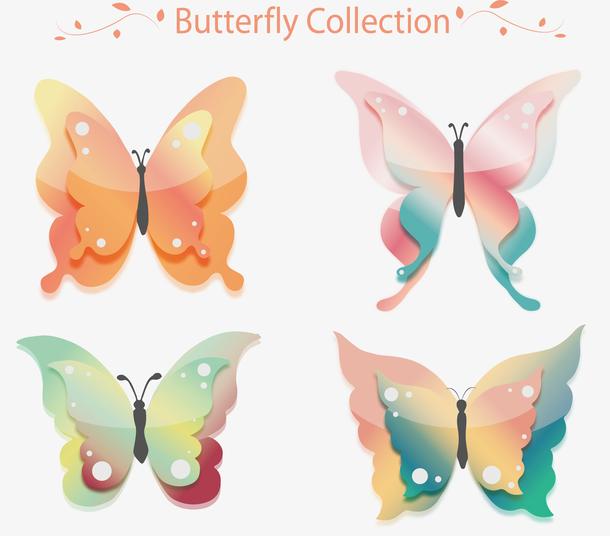 水彩蝴蝶矢量图