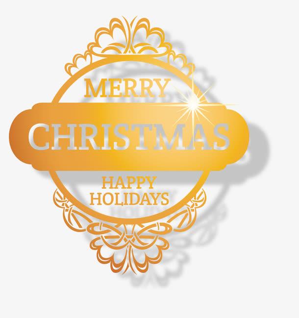 圣诞节烫金字体装饰矢量