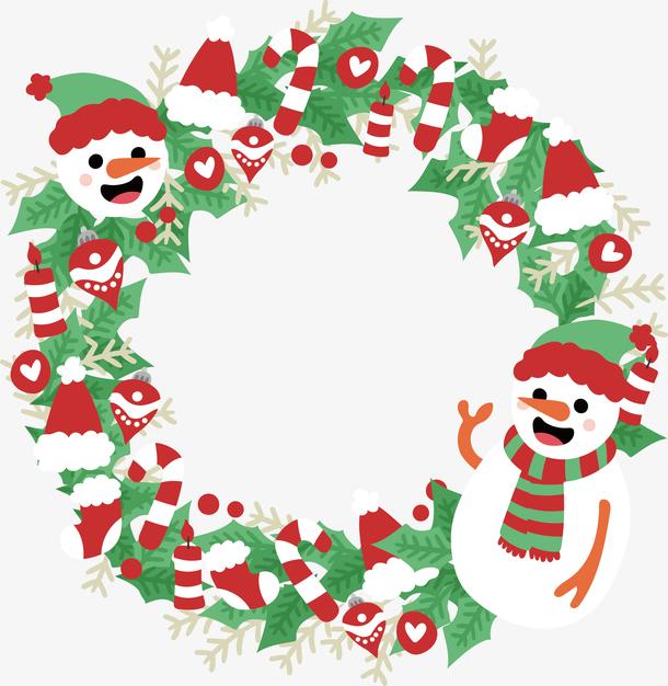 可爱雪人圣诞花环
