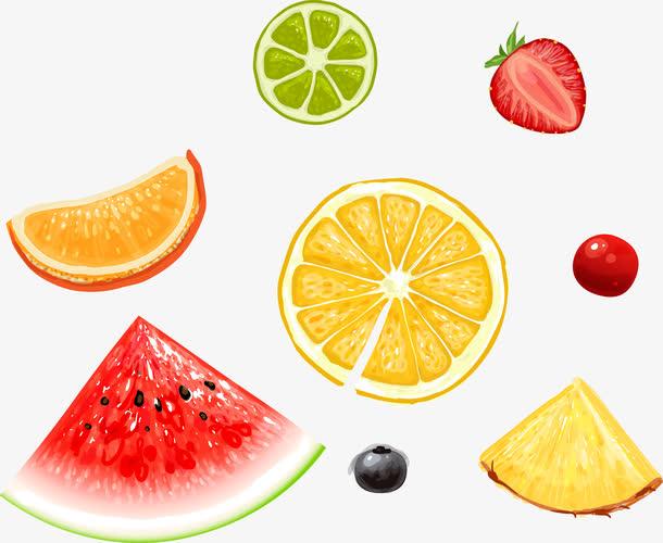 矢量水果西瓜橘子草莓切片