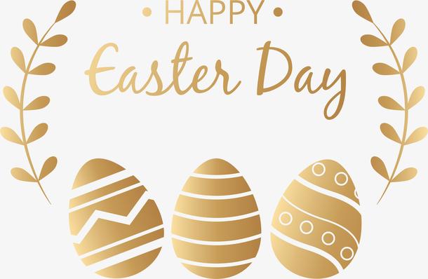 金色复活节彩蛋标签