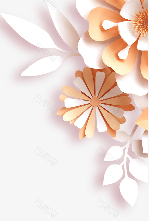 剪纸风中国风鲜花