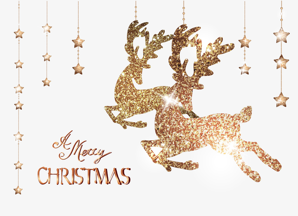 矢量圣诞金色麋鹿背景
