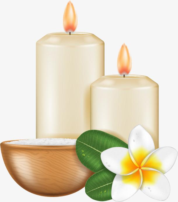 矢量蜡烛鲜花
