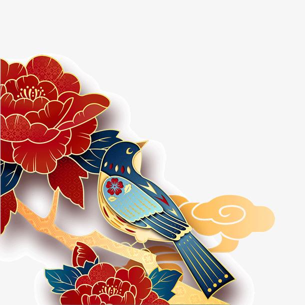 国潮花鸟中国风