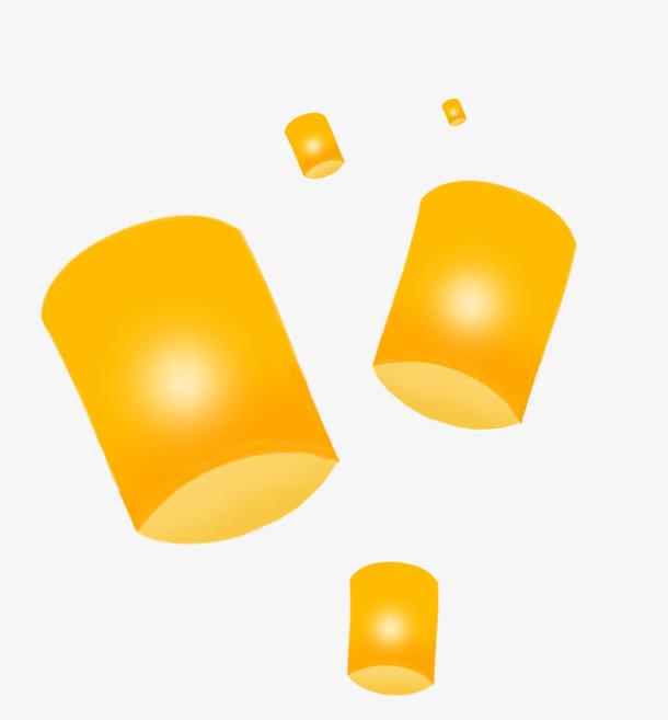 中元节黄色手绘创意孔明灯
