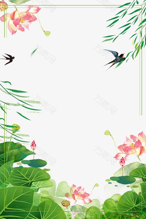 二十四节气之春分柳枝与荷塘景色
