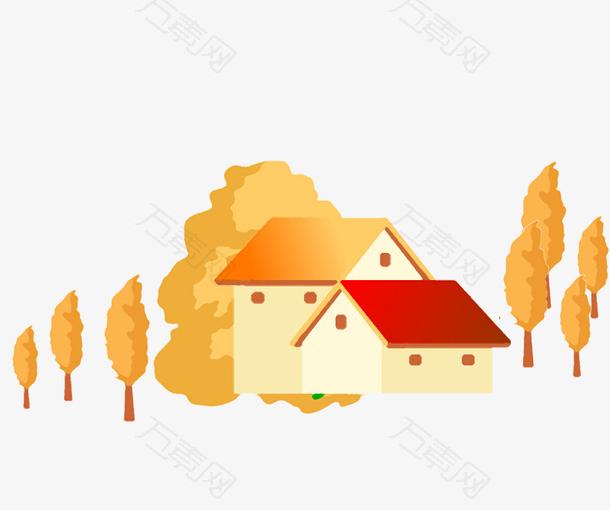 房子秋天黄色大树