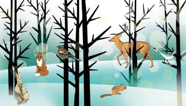 冬季树林里的动物矢量图