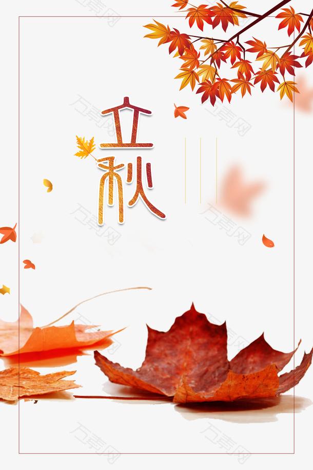 秋天立秋树叶树枝线框落叶