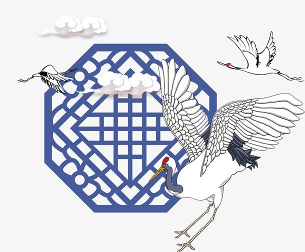 中国风蓝色边框仙鹤
