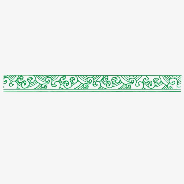 矢量波浪线边框绿色古典波纹