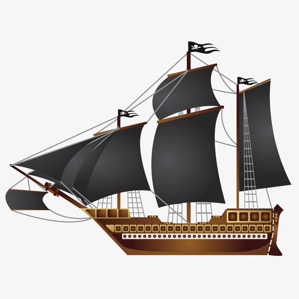 创意手绘复古帆船矢量设计素材
