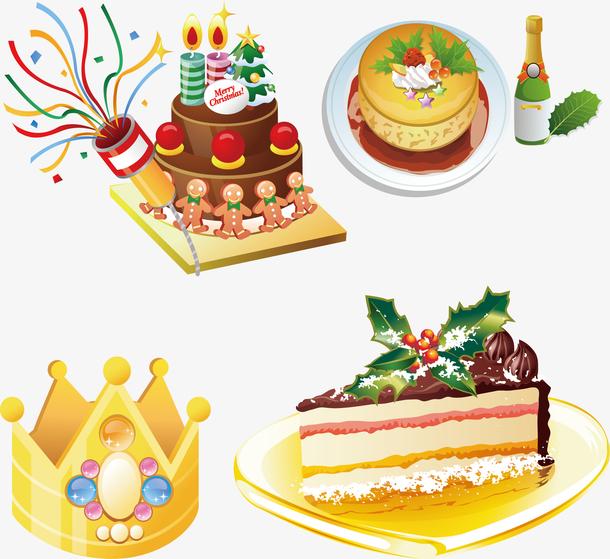 圣诞蛋糕卡通矢量美食
