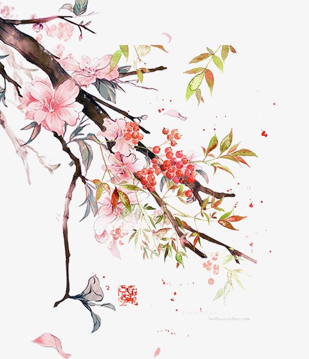 中国风复古古典手绘水彩画