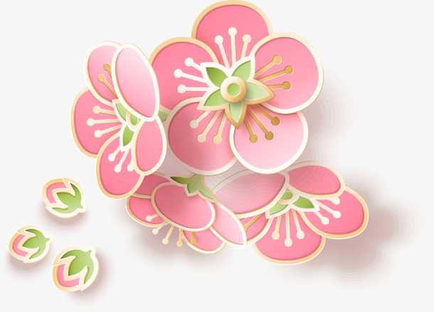 梅花 卡通植物 点缀 节日氛围 春节元素