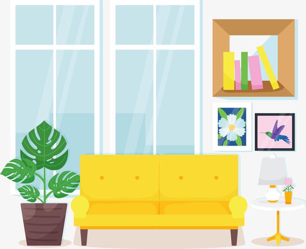 黄色沙发客厅盆栽