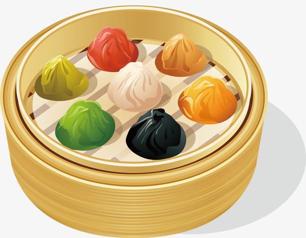 卡通五色饺子设计矢量图
