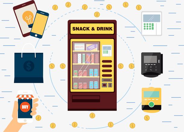 自动贩卖机里的小吃和饮料