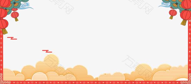 中国风祥云底纹海报边框