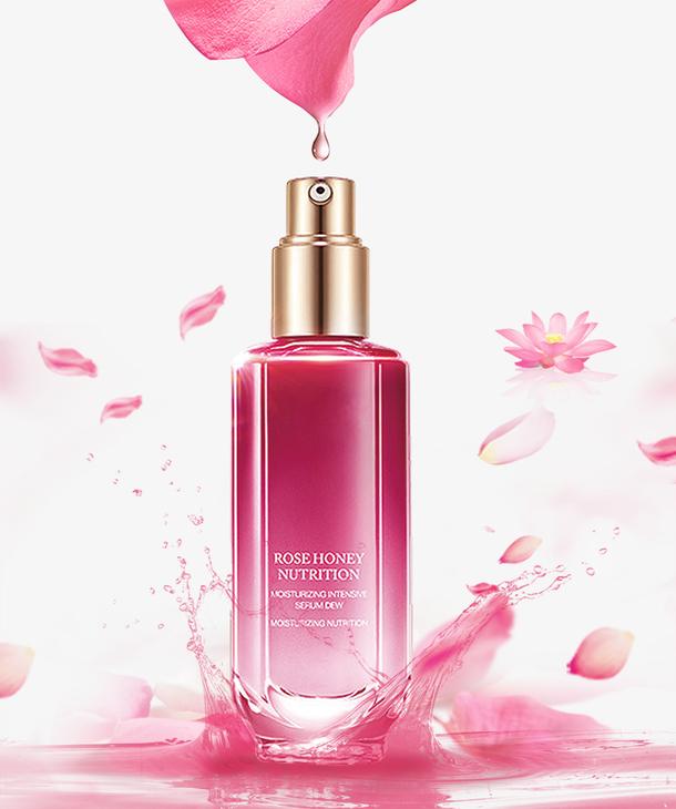 免扣粉色化妆品飘散的花瓣装饰