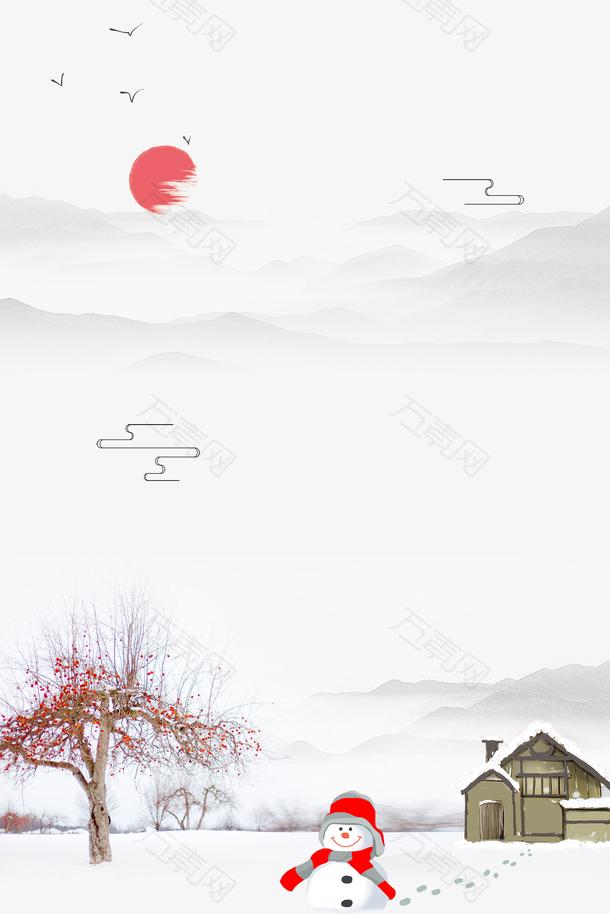 大寒雪人房屋背景