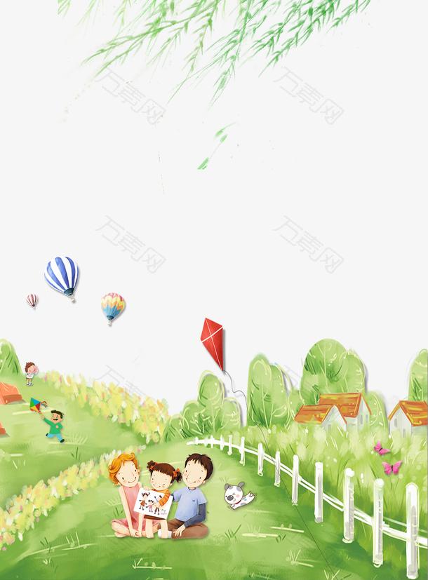 绿色清新卡通春游海报背景