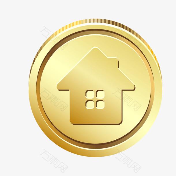 金黄色金币钱币房子