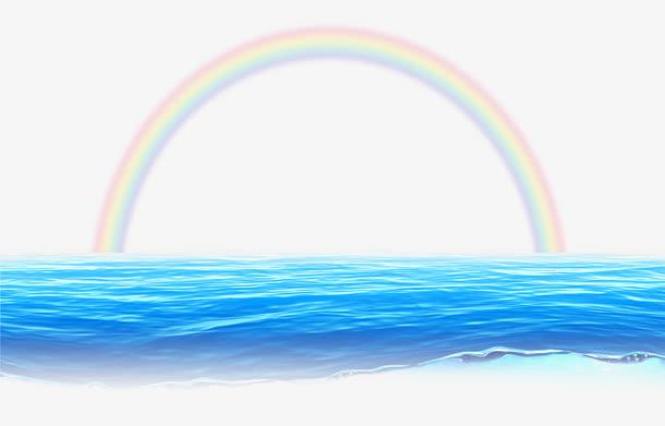 大海海水和彩虹