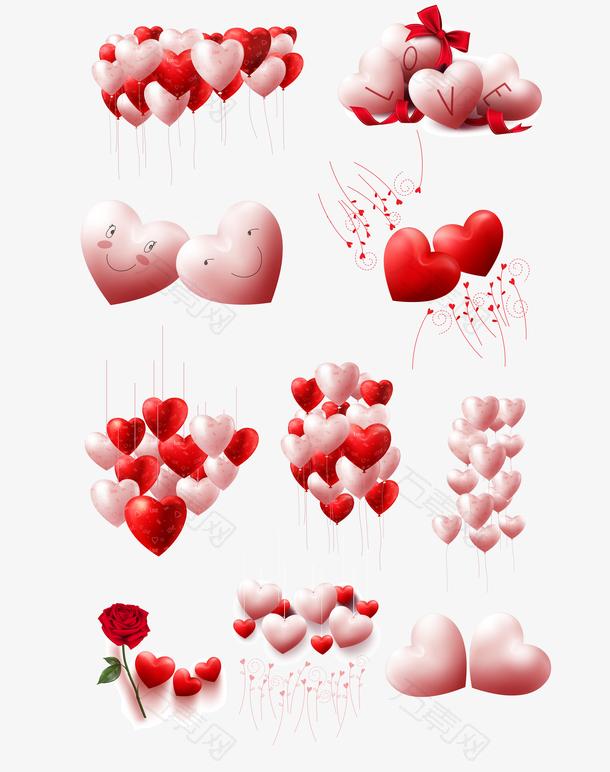 情人节爱心气球矢量图形