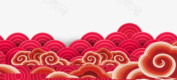 红色手绘卡通祥云背景