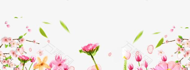 卡通手绘粉色鲜花背景